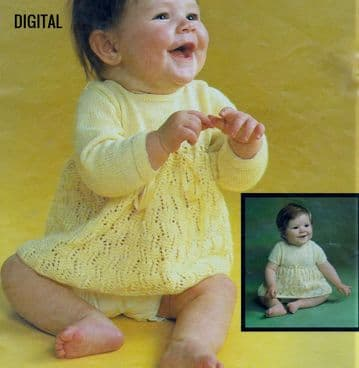 Digital Download PDF Vintage Knitting Pattern Baby Long & Short Sleeve Lacy Skirt 16-20'' 3 ply