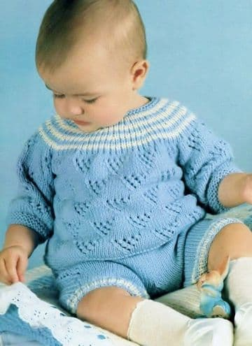 Digital Download PDF Vintage Knitting Pattern Baby Long Sleeve Lacy Sweater & Shorts