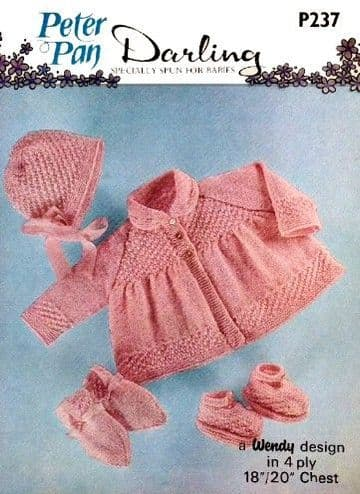 Digital Download PDF Vintage Knitting Pattern Baby P237 Jacket/Coat Bonnet Mitts Bootees 18-20""