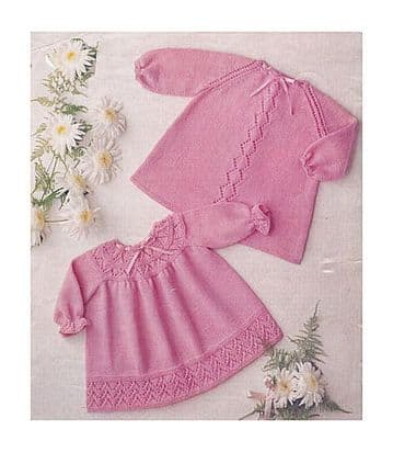 Digital Download PDF Vintage Knitting Pattern Baby's 2 Dresses 22'' 4 ply