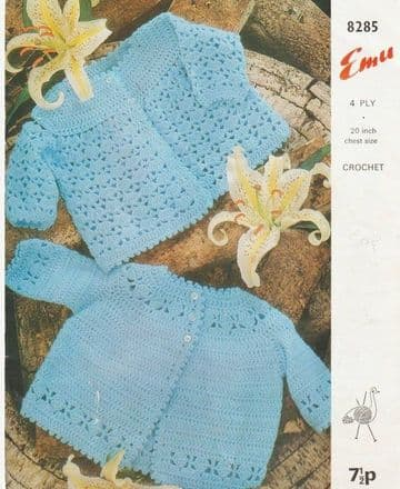 Digital Download PDF Vintage Knitting Pattern Baby's 2 Jackets Coats/Cardigans 4 ply 20''