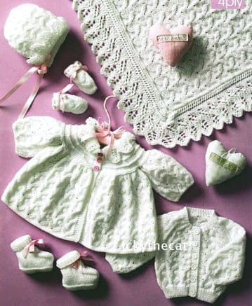 "Digital Download PDF Vintage Knitting Pattern Baby's 9""-12"" Coat Cardigan Bootees Bonnet Mitts Shawl"