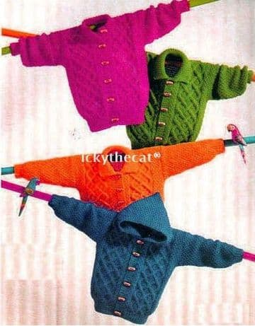 Digital Download PDF Vintage Knitting Pattern Baby's Aran Children's Jackets Collar/Hood