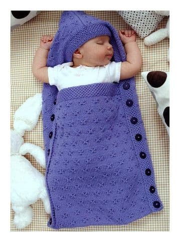 Digital Download PDF Vintage Knitting Pattern Baby's Aran Sleeping Bag, Cocoon, Sleep Sack/Papoose
