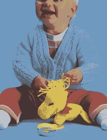 Digital Download PDF Vintage Knitting Pattern Baby's Babies Cosy V Neck CardiganChest 18-21''