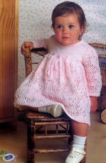 Digital Download PDF Vintage Knitting Pattern Baby's Baby Dress 3-12 months 3 ply