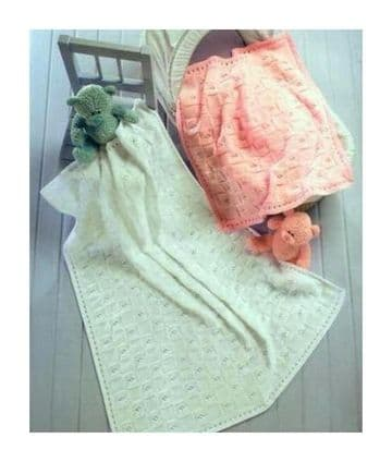Digital Download PDF Vintage Knitting Pattern Baby's Blanket & Shawl 24x22'' & 40x40'' DK