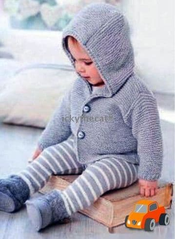 Digital Download PDF Vintage Knitting Pattern Baby's Boys Easy Hooded Cardigan Jacket 0-12 mths