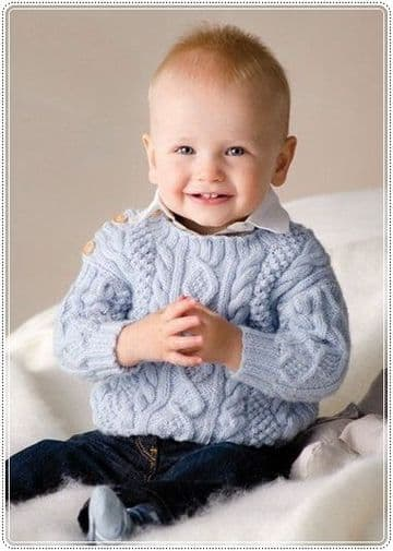 Digital Download PDF Vintage Knitting Pattern Baby's Cable Knit Sweater 0-12 months
