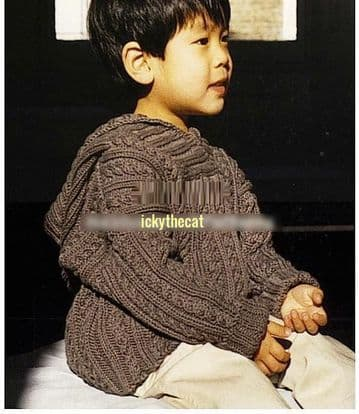 Digital Download PDF Vintage Knitting Pattern Baby's Cable & Rib Sweater w/ Hood