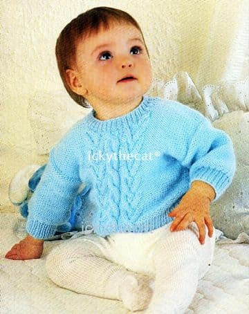 Digital Download PDF Vintage Knitting Pattern Baby's Cable Sweater 14,16,18 20'' DK