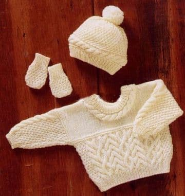 Digital Download PDF Vintage Knitting Pattern Baby's Cable Sweater Jumper Hat Mittens 16-22'' DK