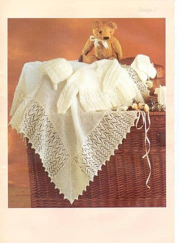 Digital Download PDF Vintage Knitting Pattern Baby's Cardigan Jacket Matinee Shawl Hat Bonnet Mitts