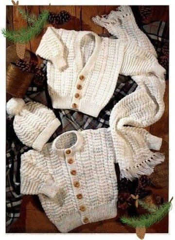 Digital Download PDF Vintage Knitting Pattern Baby's Cardigan Jacket Sweater Scarf & Hat