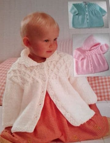 "Digital Download PDF Vintage Knitting Pattern Baby's Child Smocked Jacket Hood 18"" - 28"""
