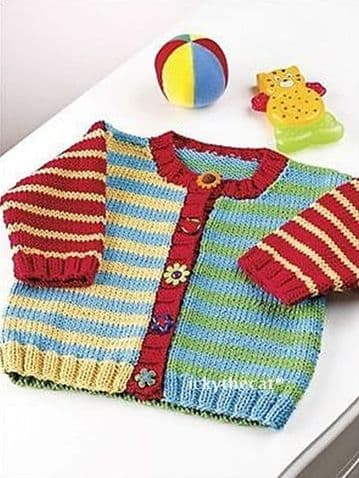 "Digital Download PDF Vintage Knitting Pattern Baby's Childrens Button Up Aran Stripe Cardigan 24""-30"