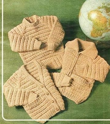 Digital Download PDF Vintage Knitting Pattern Baby's Childrens Chunky Sweater Cardigan 22-30''