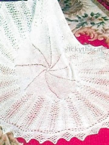 "Digital Download PDF Vintage Knitting Pattern Baby's ""Circle of Love"" Christening Shawl"