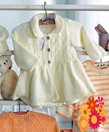 Digital Download PDF Vintage Knitting Pattern Baby's Coat Jacket w/ Collar 3 mths - 24 mths