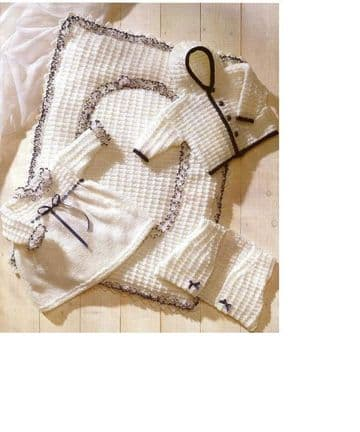 Digital Download PDF Vintage Knitting Pattern Baby's Cot Pram Blanket Cover Jacket Dress Waistcoat