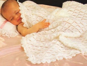 "Digital Download PDF Vintage Knitting Pattern Baby's Diamond Shawl Blanket w/ Edging 40"" x 40"" 4 ply"