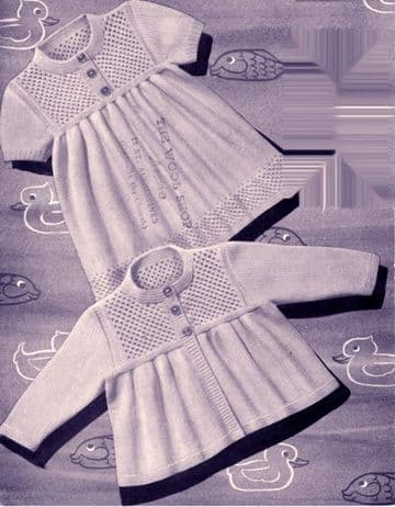 "Digital Download PDF Vintage Knitting Pattern Baby's Dress w/ Jacket Cardigan 19-21""  3 ply"