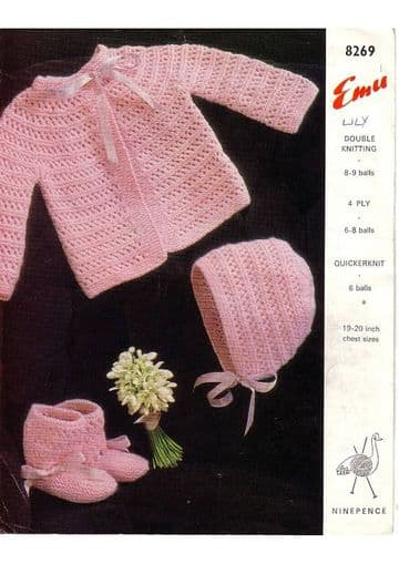 Digital Download PDF Vintage Knitting Pattern Baby's Emu 8269 Baby Coat Bonnet Bootees 19-20'' ​​​​