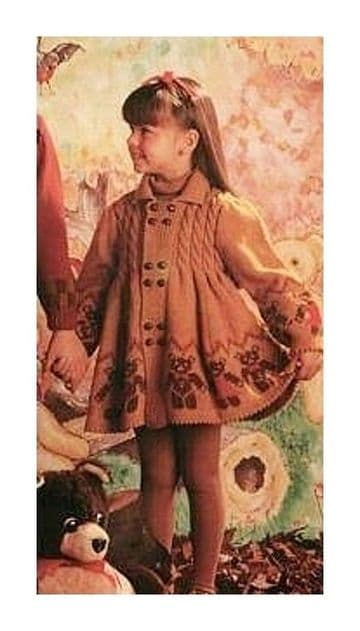 Digital Download PDF Vintage Knitting Pattern Baby's Girls Coat w/ Cables & Teddy Motifs 22,24,26""
