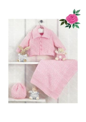 Digital Download PDF Vintage Knitting Pattern Baby's Jacket Hat  & Blanket 12-20'' Premature