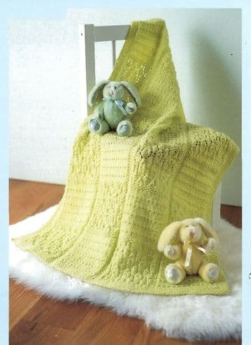 Digital Download PDF Vintage Knitting Pattern Baby's Lace Baby BlanketShawl & Cot Blanket DK
