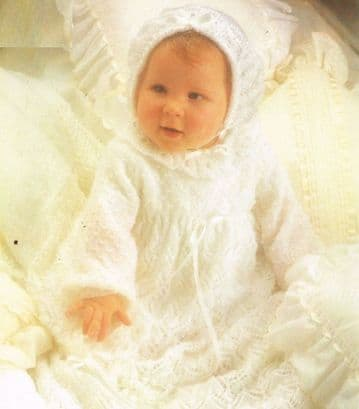 Digital Download PDF Vintage Knitting Pattern Baby's Lacy Christening Set Dress Shawl Bonnet 16-20""