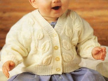 "Digital Download PDF Vintage Knitting Pattern Baby's Leaf Pattern Cardigan 16"" - 22"" 4 Ply"