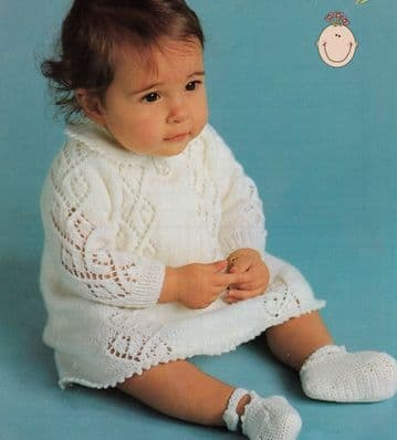 Digital Download PDF Vintage Knitting Pattern Baby's Long Sleeve Dress Picot Edging 4 ply 18-22