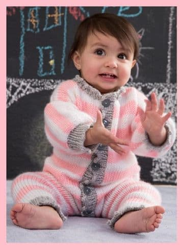 Digital Download PDF Vintage Knitting Pattern Baby's Romper All in One 0-18 months Aran