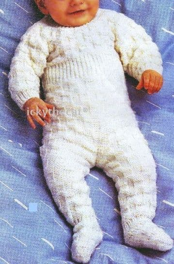 "Digital Download PDF Vintage Knitting Pattern Baby's Romper All In One Chest 17-18"" DK"