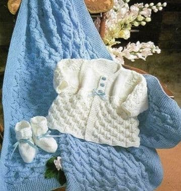 Digital Download PDF Vintage Knitting Pattern Baby's Shawl Christening 48 x 38'' DK