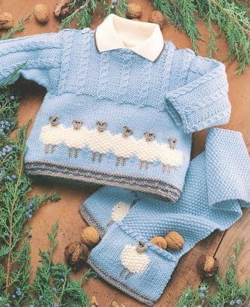 Digital Download PDF Vintage Knitting Pattern Baby's Sheep Sweater Jacket Scarf & Cosy Hat 0-2 years