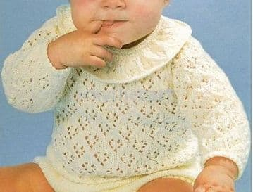 Digital Download PDF Vintage Knitting Pattern Baby's Sweater Jumper & Pants Frilly Collar 16-20""