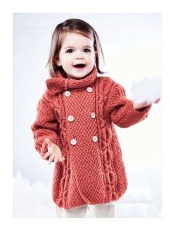 Digital Download PDF Vintage Knitting Pattern Baby's Toddler Cable Cardigan Coat 6-24 months ​​​​​​