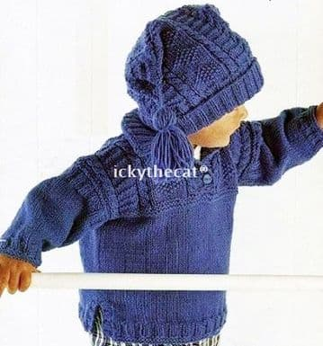 Digital Download PDF Vintage Knitting Pattern Baby's Toddler Child's Cable Tunic Sweater Slouch Hat