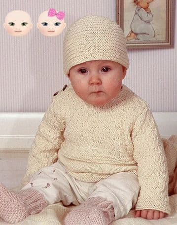 Digital Download PDF Vintage Knitting Pattern Baby's Toddler Childs Jumper & Hat ​​​​​​​0-4 years