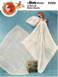 Digital Download PDF Vintage Knitting Pattern Baby's Two Lacy Baby Shawls ​​​​​​​48 x 48''