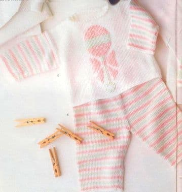 Digital Download PDF Vintage Knitting Pattern Baby's Wrap Round Picture Top & Trousers