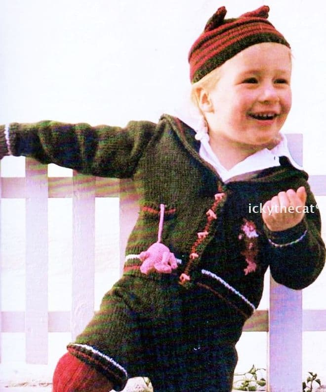 Digital Download PDF Vintage Knitting Pattern Baby This Little Piggy Boy's Jacket Shorts Hat 20-24