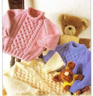 Digital Download PDF Vintage Knitting Pattern BaCable Cardigan & Sweaters 2 Necklines 20-30''