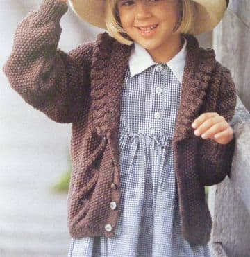 Digital Download PDF Vintage Knitting Pattern Child's Aran Cable Cardigan Jacket 24-30""