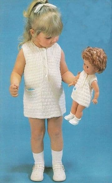 Digital Download PDF Vintage Knitting Pattern Child's Baby/Girls Dress & Doll Dolls Dress Toy