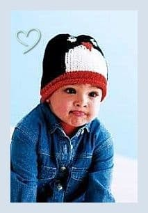 Digital Download PDF Vintage Knitting Pattern Child's Baby ​​​​​​​Penguin Hat Beanie