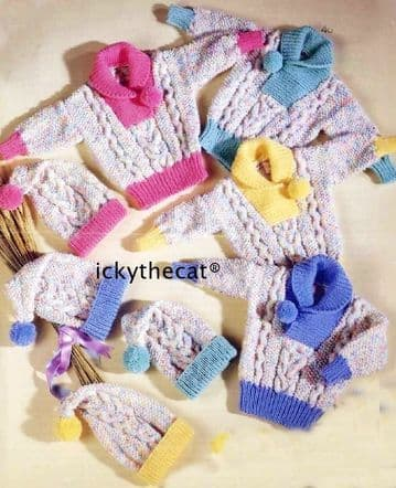 Digital Download PDF Vintage Knitting Pattern Child's Baby's Aran Sweaters & Hats ​​​​​​​18-26""