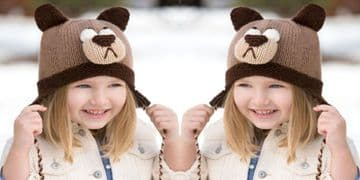 Digital Download PDF Vintage Knitting Pattern Child's Childrens Bear Hat w/ Ear Flaps Aran wool